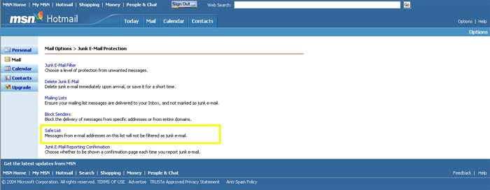 how to add email to safe list in hotmail